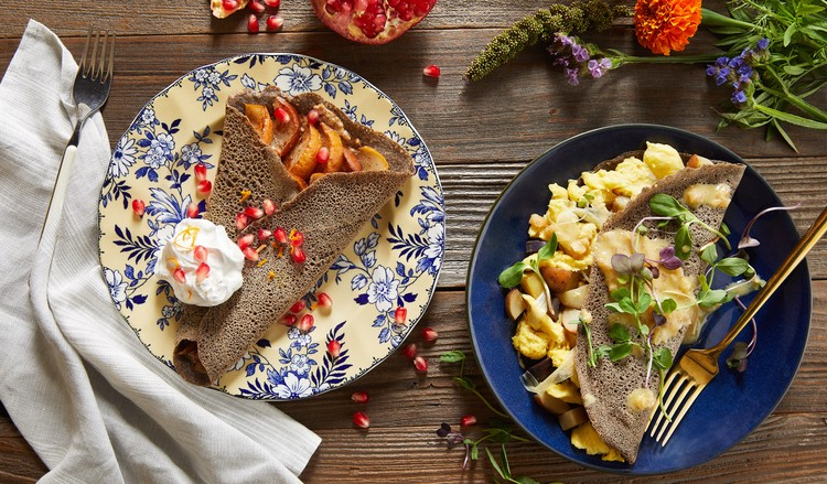 JUST Egg buckwheat crêpes on two colorful plates