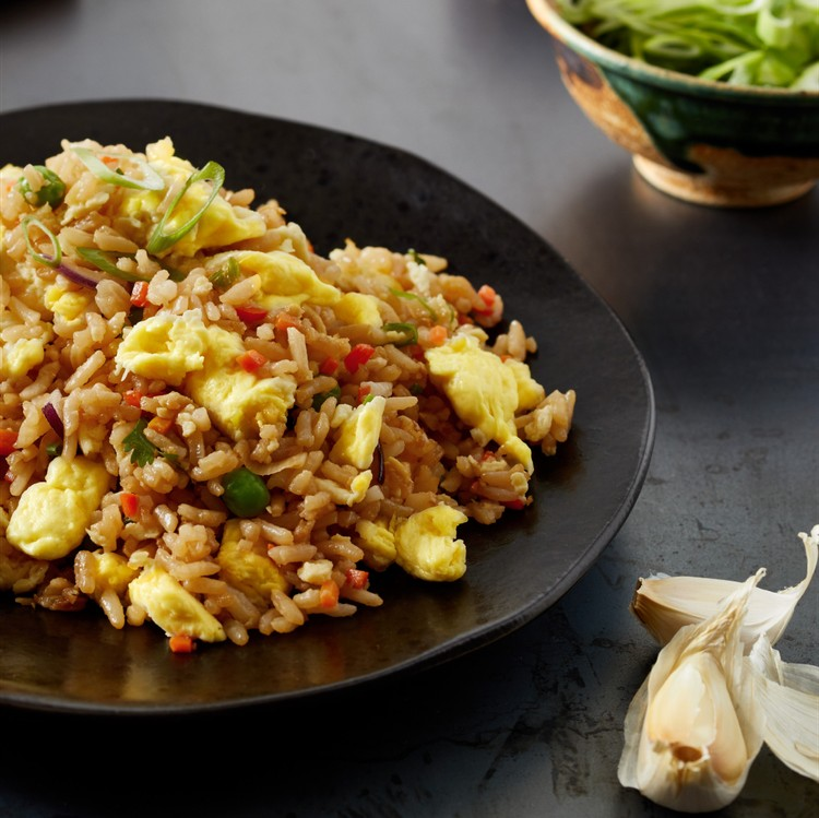 JUST Egg fried rice on a black plate