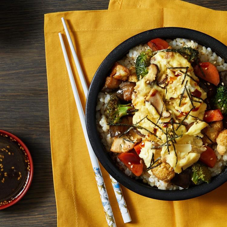 teriyaki rice bowl with scrambled JUST Egg